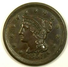 US Liberty 1 Cent 1851 UNC Cooper Braided Hair .