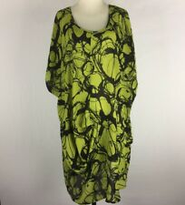 TS TAKING SHAPE Size 18 Black & Lime Printed Lightweight Sheer Fabric Long Top