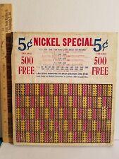 VINTAGE PUNCH BOARD C1950S NICKEL SPECIAL