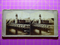 Antique Stereoscope Photograph Vincent's Pier Lighthouse, Scarborough Stereoview