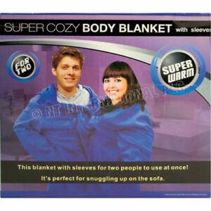 DOUBLE BODY BLANKET WARM WINTER FLEECE CUDDLE WRAP SNUGGLE SLEEVES POCKETS NEW