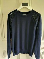Chloe Navy Sweater with lace panels, light wool knit. Size XS