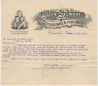 1906 Butter, Eggs & Poultry Concordia Kansas Illustrated Letterhead
