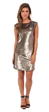 $350 NEW REBECCA TAYLOR Black Gold Sequin Panel Shift Dress COCKTAIL CHIC 2 XS