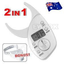 Electronic Digital Body Fat Caliper Tape Measure Pack Skin Muscle Tester AU