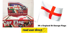 Box Of 36 England St George Car Flags - Brand New In Retail Display Box