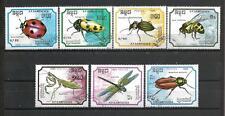 Insectes Kampuchéa (16) série complète de 7 timbres oblitérés