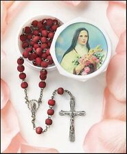 Rose Scented Carved Wood Prayer Bead 19 Inch Rosary with Saint St Theresa Case