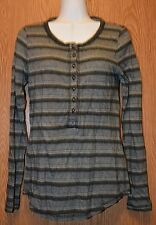 Womens Black White Striped Lucky Brand Long Sleeve Shirt Size Small NWT NEW