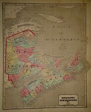 Antique 1843 Hand Colored ~ CANADIAN MARITIMES MAP ~ Old Authentic Vintage Map
