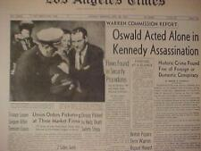 VINTAGE NEWSPAPER HEADLINE~PRESIDENT KENNEDY JFK MURDER OSWALD GUN SHOT DEAD~