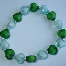 Nuevo Corazón De Cristal Y Pulsera De Perlas, verde y azul pálido Colores, rb33