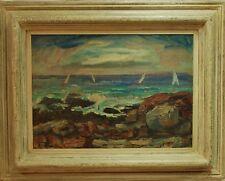 Martin Mondrus modernist oil painting land seascape 1959 impressionism sailing