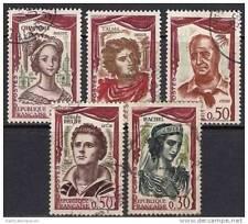 France 1961 - n° 1301-1305    Série Personnages célèbres oblitérés