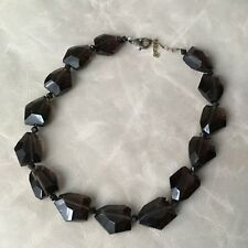 Collier Vintage Avec Grandes Perles En Verre Brun 1960 Necklace Glass Pearls