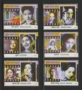 INDIA 2011 Legendary Heroines of Indian Cinema Movies Bollywood films 6v MNH