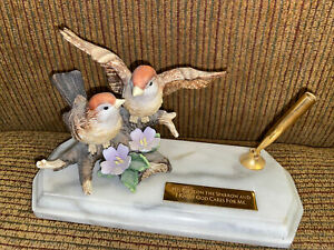 His Eye Is On The Sparrow Pen Holder With Sparrow Figurine On Marble Base
