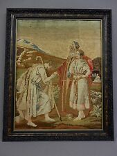 Antique Framed Tapestry Circa1900 A Biblical, christian, religious, needlepoint!