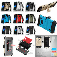 Heavy Duty Armor iPhone Case Shockproof Protective Holster Tempered Glass Combo