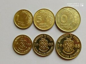 Guinea set of 3 coins 10+5+1 franc 1985 UNC Price for one set