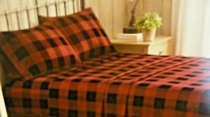 new 3 pc TWIN size Sheet set dark red black BUFFALO PLAID 100% Cotton Flannel