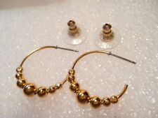Premier Designs Gold Tone Beaded Post Style Pierced Hoops Called Playful