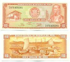PERU NOTE 10 SOLES DE ORO 1976 P 112 UNC