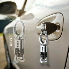 For Audi Emblem Key Chain Ring BV Style Calf Leather Gift Decoration Black New