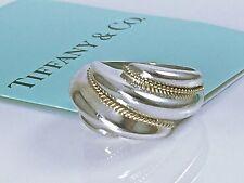 Auth. Tiffany & Co. 925 Silver 14k Yellow Gold Swirl  Shrimp Ring Sz 5 4.8 gr.