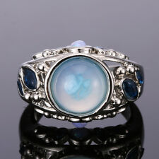 925 Sterling Silver Unisex Rings Rainbow Jewelry Smooth Fire Opal Gift Size 6-10