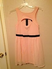 Peach Sleeveless Textured w/Chiffon Overlay Cocktail Dress L NWOT