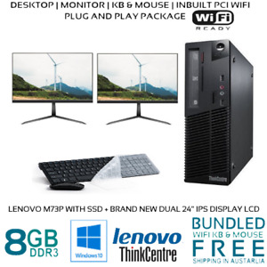 Computer Package Lenovo M73p Gen4 8GB 128GB SSD 500GB HDD NEW 24″ LCD DVD WIFI
