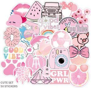 UK VSCO Stickers for Hydro Flask 50 Pcs Cartoon Pink Phone Laptop Cute Sticker