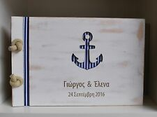 nautical guest book, beach wedding, navy blue guest book, we tide the knot, wood