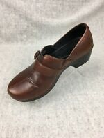 DANSKO Women's Brown Leather Clogs Mules Slip On block heel Shoes Size 39