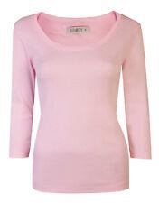 Womens Tops Crop Sleeve Ladies T-Shirt Scoop Neck Cotton Baby Pink Size 10