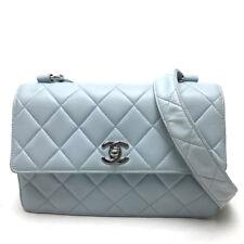 AUTHENTIC CHANEL CC Matelasse Shoulder Bag Light blue Lambskin Leather