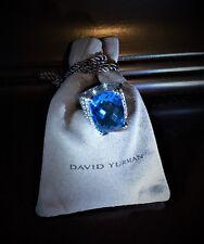 $2,085 DAVID YURMAN WHEATON 20X15mm BLUE TOPAZ DIAMOND STERLING SILVER 925 RING