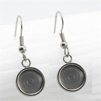 10 Pcs Stainless Steel Cabochon Earring Settings Blank Base DIY Hook Findings