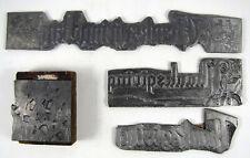 Lot Of 4 Thanksgiving Metal Letterpress Printing Plates Block Pilgrims