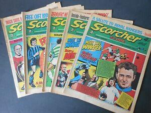 FIVE 1973 Vintage SCORCHER and SCORE Comics x2 Aug & x3 Oct Brian Clough
