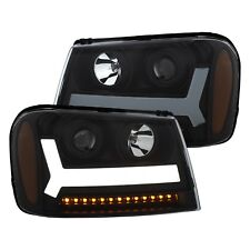 Black LED Plank Style Projector Headlights For 06-09 Chevy Trailblazer LT