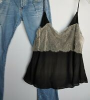Sexy Black Free People intimately Spaghetti Strap Top With Lace  large