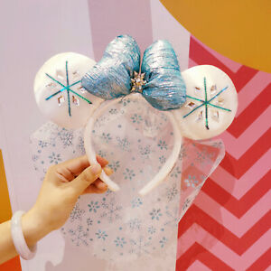 Elsa Snowflake Blue Minnie Mouse Ears Disney Park Headband