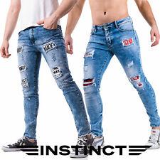 Jeans Uomo Strappati Slim Fit con Toppe Strappi Skinny Blu Pantaloni INSTINCT