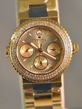New Womens Invicta 22957 Gabrielle Union Chrono Gold Dial Crystal Steel Watch