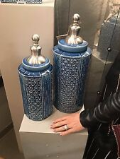 TWO LARGE TEXTURED AGED BLUE CERAMIC DECORATIVE URNS BRUSHED NICKEL FINIAL LIDS