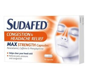 SUDAFED CONGESTION & HEADACHE RELIEF MAX STRENGTH 16 CAPSULES