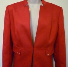 Tahari ASL womens Large 12 red woven lined blazer suit jacket career