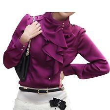 Jpcloth Office Blouse Long Sleeve Vintage Womens Shirt Ruffle Top 12 10 8 14 6 Dark Purple L